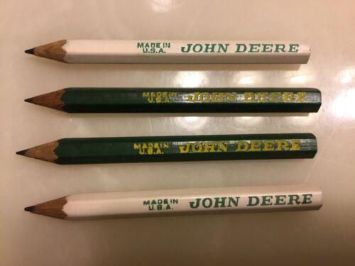 "3.5"" long Vintage John Deere Wooden Pencils lot of 4 2 Green /& 2 White"