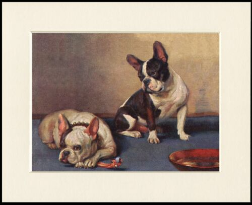 FRENCH BULLDOG TWO DOGS AND A BONE CHARMING DOG PRINT MOUNTED READY TO FRAME