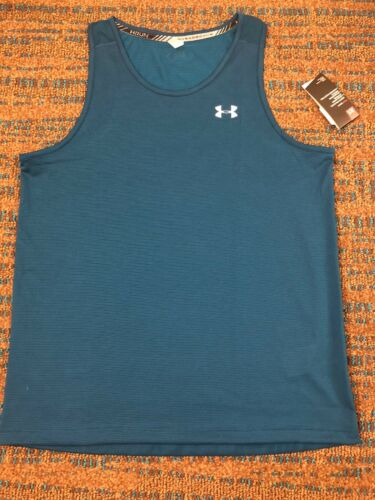 NWT Mens XL TEAL Under Armour Threadborne RUN Fitted Tank Top Shirt #1299026 $28