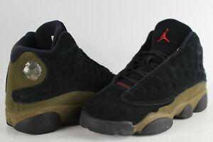 58a543e7772bd0 Nike Air Jordan Retro 13 Black Light Olive True Red Size 4.5 Youth ...