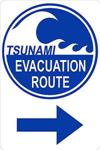 TSUNAMI-EVACUATION-ROUTE-with-RIGHT-Arrow-12x18-Aluminum-Sign