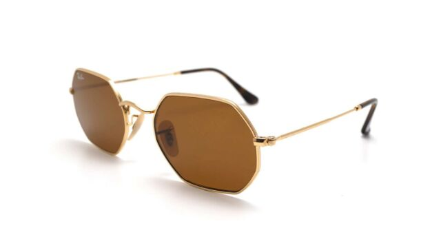 Sunglasses Ray-Ban RB3556N Octagonal 001/33 Gold/Brown