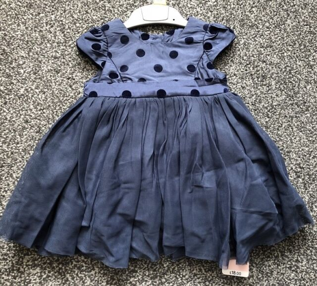 6490f3f16063 Mothercare Navy Blue Party Dress Baby Girl 3 - 6 Months Wedding Christmas  NEW