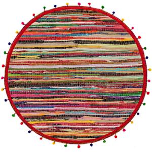 Round Pom Pom Recycled Rag Rug  70/% Recycled Cotton 30/% Polyester 90cm Diameter