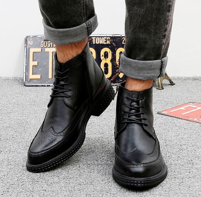 Uomo Wingtip Side Zip Low Heel High Top Casual Brogue Lace Up Oxford Motor Shoes