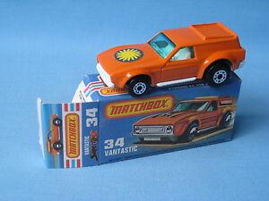Lesney Matchbox Superfast 34 Mustang vantastique avec étiquette Sun en boîte