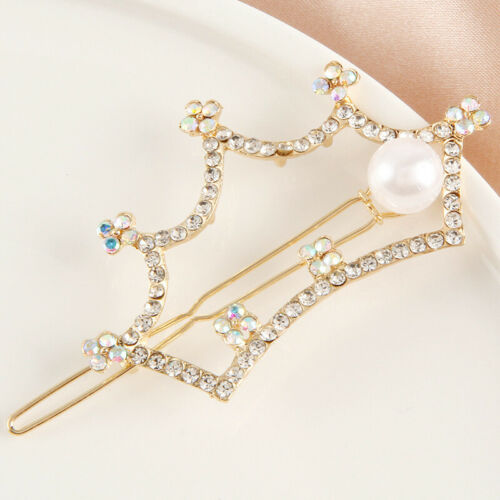 Women Girls Pearl Hair Clips Gold Hairpin Slide Grips Barrette Hair Accessories