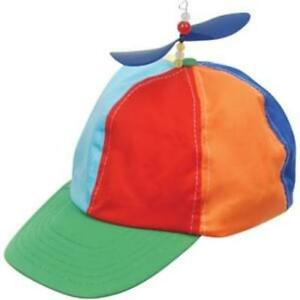 0182cf9b9 Details about PROPELLER BEANIE HAT CAP MULTI-COLOR CLOWN COSTUME HAT BLUE  YELLOW RED ORANGE