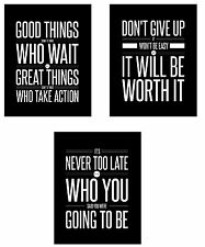 Don't Give Up 3 Mini Poster Set (8 x 10 inch) Motivational Inspirational Quotes