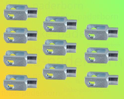 10 x Gabelkopf 4x8 M4 verzinkt ohne Zubehör Gabelgelenk Gabelköpfe