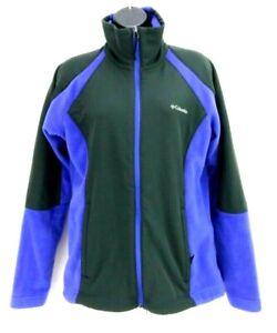 Columbia-Womens-Size-Large-Long-Sleeve-Full-Zip-Fleece-Jacket-Blue-Black