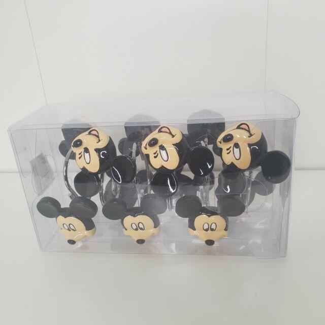 Disney Mickey Mouse 12-Piece Bath Shower Curtain Hooks Tan Black Polyresin Metal