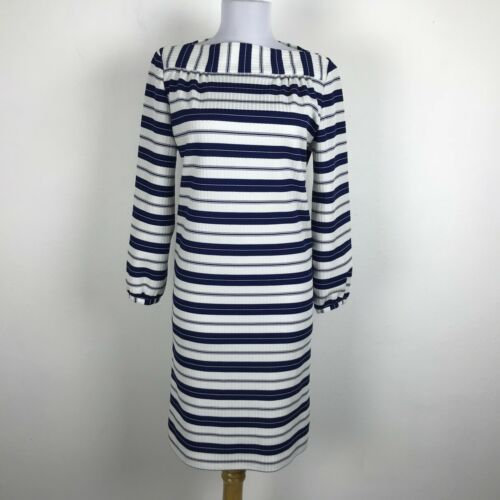Vintage 1960s Shift Dress Size S Blue White Stripe
