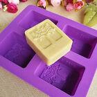 1Set 4 Square Silicone Soap Mold Loaf Box DIY Handmade Soap Craft Mould Fashion