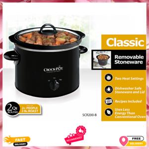Black Crock-Pot 2 Quart Manual Slow Cooker Stoneware and Lid Dishwasher-Safe