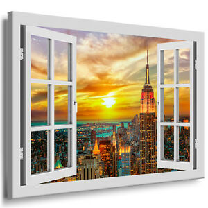 fensterblick leinwand bild xxl wandbild auf keilrahmen kunstdruck new york 212. Black Bedroom Furniture Sets. Home Design Ideas