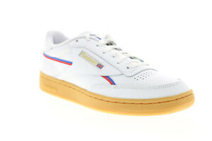 Reebok-Club-C-85-MU-EG6425-Mens-White-Leather-Lace-Up-Lifestyle-Sneakers-Shoes