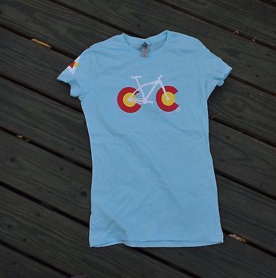 Importado Del Extranjero Colorado Flag Biking Bicycle T Shirt, Light Blue Womens Una Gran Variedad De Modelos