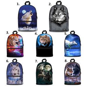 685ca4a4ce6 Men Canvas Backpack Wolf Print Shoulder Bookbag for High School Boys ...