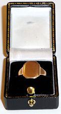 9ct Oro Vintage Grande Anello Con Sigillo Taglia P1/2