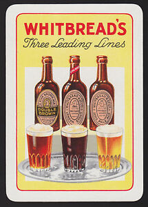1-Single-VINTAGE-Playing-Swap-Card-OLD-WIDE-ADV-WHITBREAD-039-S-3-LINES-Beer-Brewery