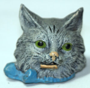 RaRe-ANTIQUE-c1800-039-s-figural-metal-KITTEN-CAT-Wind-uP-sewing-tape-measure
