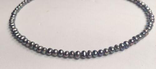 Genuine Peacock Silver Black Cultured Freshwater Pearl Bracelet Anklet Bespoke