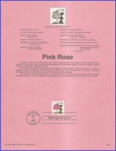 USA-2492-U-A-SOUVENIR-PAGE-FDC-Pink-Rose