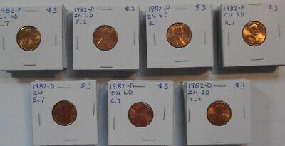 1982 P+D Lincoln Cent Small//Large Date Zinc Copper 7-Coin Set