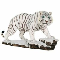 White Tiger Blue Eyes Watching Stalking Prey Animal Lover Figurine Statue