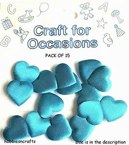 CRAFTS-FOR-OCCASIONS-PACK-OF-15-MEDIUM-2-CM-PADDED-FABRIC-TURQUOISE-BLUE-HEARTS