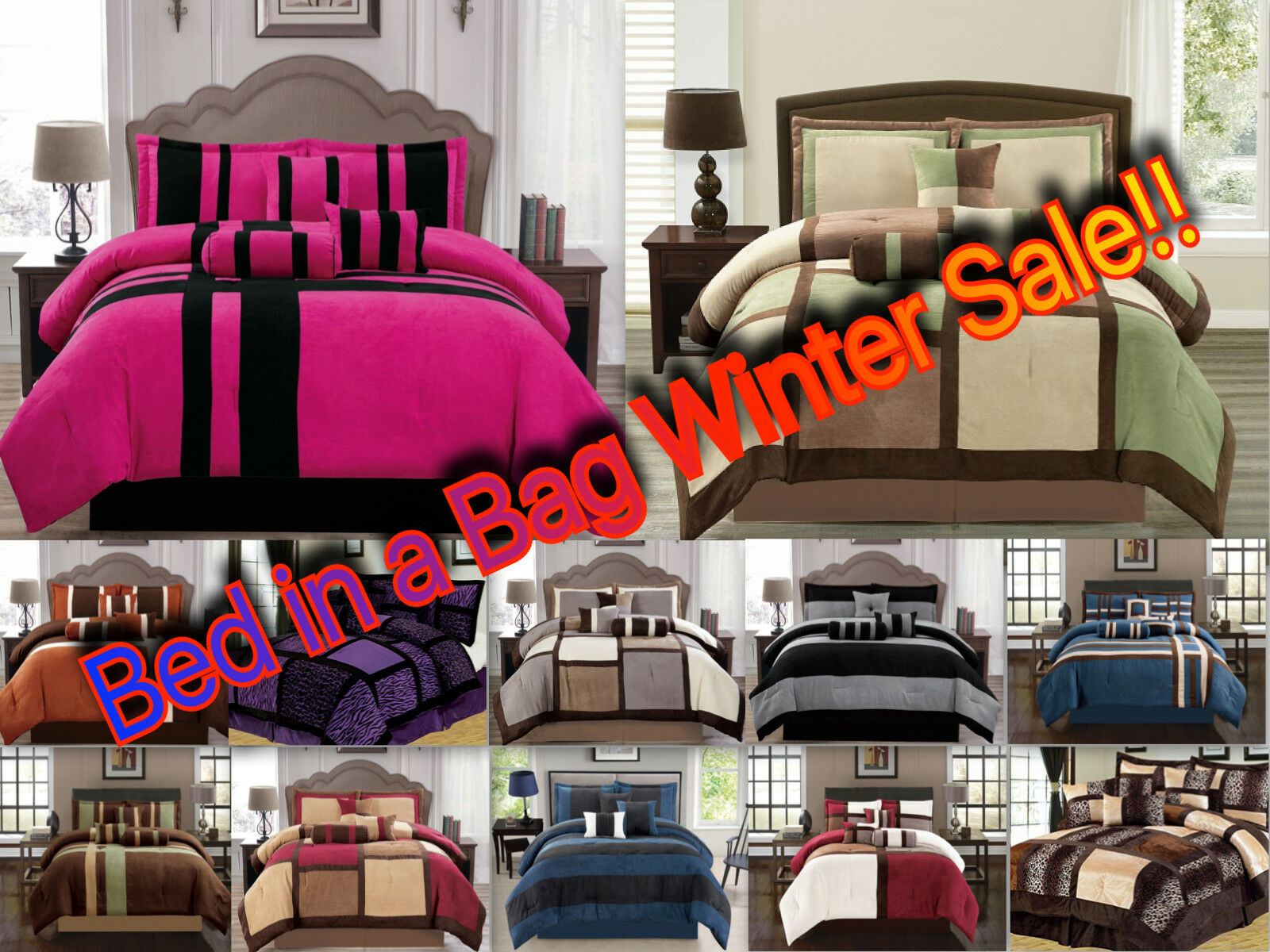 Luxurious 11-PC Micro Suede Winter Soft Comforter Set Bed In A Bag W  Sheet Set
