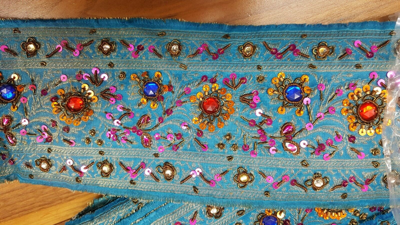 Indian pure benarasi silk bluee saree border wide 10cm embroidery 9m zari patola