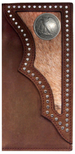 Long Brown Leather Hair on Hide Rodeo Checkbook Wallet