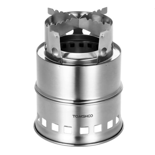 TOMSHOO Portable Outdoor Camping Wood Stove Cooking Burner Stainless Steel Stove