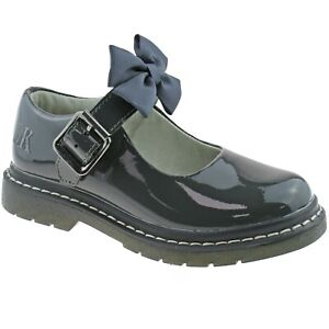 Audrey Grey Patent School Shoes F