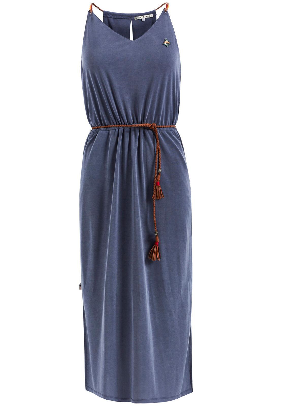 Khujo Damen Kleid MOMILANI mit Ledergürtel Jerseykleid Spaghettiträger ärmellos