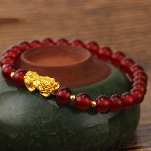 NEW Pure 24K Yellow Gold Bracelet Woman/'s Elegant Pixiu /& Red Agate Bracelet