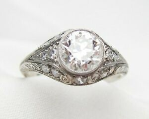 Antique-Vintage-Art-Deco-Engagement-Wedding-Ring-2Ct-Diamond-925-Sterling-Silver