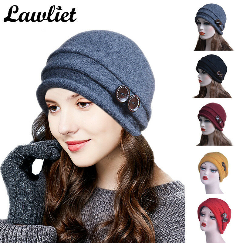 57aadcac200 Women Winter Cap 100 Wool Ladies Beanies Dobble Button Cap Church Hat T178  Light Purple One Size Regular for sale online