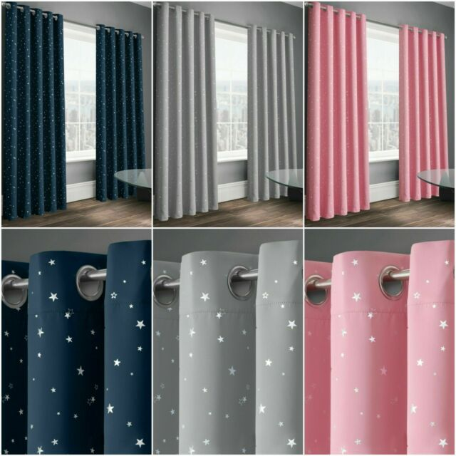 Home Furniture Diy Curtains Drapes Star Thermal Blackout Curtains Pair Eyelet Ready Made For Kid Boy Girl Bedroom Mtmstudioclub Com