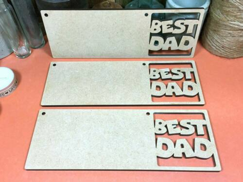 daddy father wood shapes plaque hanger signs WOODEN MDF BEST DAD SIGN x3