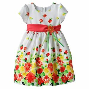 Bonnie Jean Easter Orange Floral Flower Dress Toddler Girls 12Mo 18Mo 12 18 Mo