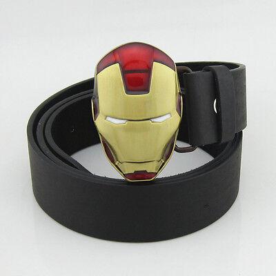 New Avengers Iron Man Superhero Costume Red Yellow Men Metal Belt Buckle Leather