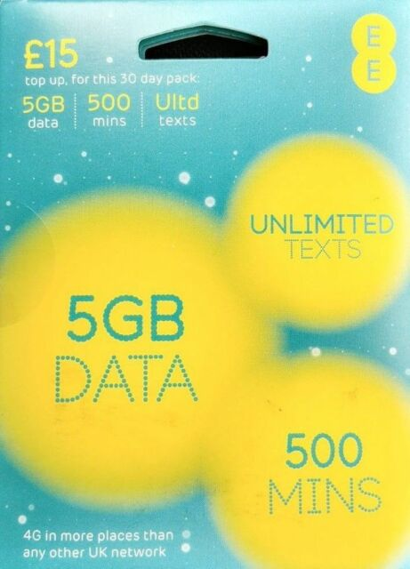 LATEST EE 4G £15 Data Pack Combi Sim PAYG 5GB Data Unlimited Texts 500 mins