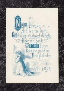 Victorian-Child-039-s-Morning-Prayer-Card-039-Now-I-wake-and-see-the-light-039-4-75-x-3-25