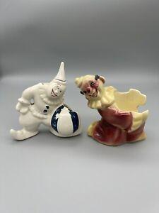 Vintage Shawnee Pottery Clown Planter Pair Art Deco Mid Century