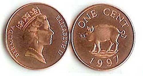 Bermuda 1 Cent Wild Boar Pig Animal Wildlife Coin