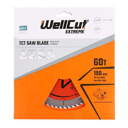 Wellcut TCT Lame Scie 190 mm x 60 T X 30 mm alésage pour C7U2 GKS190 GKS65 Pack de 2