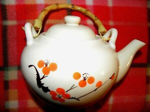 World-Market-2-cup-teapot-with-lid-orange-flowers-bamboo-handle-UNUSED